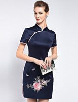 MARCOBOR Women's Going out Vintage Sheath DressEmbroidered Stand Above Knee Short Sleeve Blue Others Summer Mid Rise Inelastic Medium
