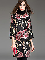 1898 Women's Plus Size / Casual/Daily Chinoiserie Trench CoatEmbroidered Round Neck  Sleeve Fall Black Polyester Medium