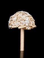 Bouquets de Noiva Redondo Buquês Casamento Festa / noite Cetim Seda Enfeite Strass Metal Crostal 11.02