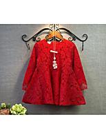 Vestido Chica de-Casual/Diario-Un Color-Algodón-Primavera / Otoño-Rojo / Blanco
