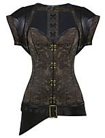 Shaperdiva Women Dobby 12 Steel Boned Gothic Steampunk Overbust Corset Tops