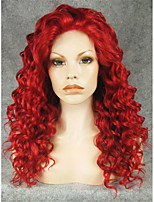 IMSTYLE 20''Red Medium Curly Synthetic Lace Front Wigs 150%-180%Heavy Density