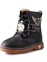 Boy's Boots Winter Comfort PU Outdoor / Casual Flat Heel Beading / Lace-up Black / Brown / Coffee Walking