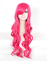 Women's Long Wave Red Color Wigs Party Anime Cosplay Synthetic Wig
