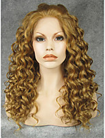 IMSTYLE 20''Light Brown Curly Synthetic Lace Front Wigs Heavy Density On Sale