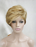 высокое качество тепла дружественный золотистый блондин ломбера короткий женский парик асимметричный