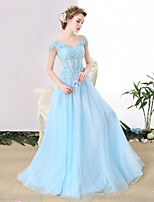 Formal Evening Dress A-line Off-the-shoulder Floor-length Tulle with Beading / Lace / Sequins