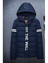 Пальто Простое Обычная На подкладке Мужчины,Однотонный На каждый день Полиэстер Хлопок,Длинный рукав Капюшон Синий