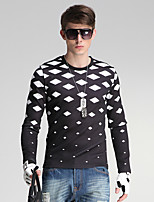 Men's Daily/Sports/Holiday Simple Sweatshirt Geometric Black Round Neck Long Sleeve Cotton/Polyester All Seasons