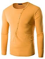 Tee-shirt Hommes,Couleur Pleine Décontracté / Quotidien simple Printemps / Automne Manches Longues Col ArrondiBleu / Blanc / Noir / Gris