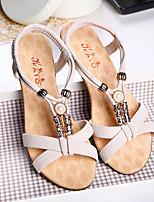 Damen-Sandalen-Lässig-PU-Keilabsatz-Komfort-Schwarz / Beige