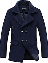Men's Casual/Daily Simple Coat,Solid Shirt Collar Long Sleeve Fall / Winter Blue / Red / Black Polyester Medium