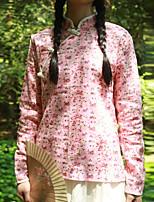 Chemise Femme,Fleur Décontracté / Quotidien Chinoiserie Printemps / Automne Manches Longues Mao Rose Coton / Lin Fin