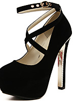 Women's Heels Spring Summer Fall Winter Fleece Office & Career Dress Party & Evening Chunky Heel Buckle Black Red Blue