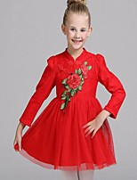 Vestido Chica de-Casual/Diario-Floral-Algodón-Primavera / Otoño-Rosa / Rojo