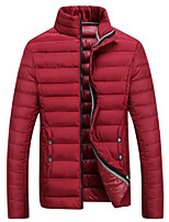 Men's Long Down Coat,Simple Casual/Daily Solid-Polyester Polypropylene Long Sleeve Red / Black / Gray