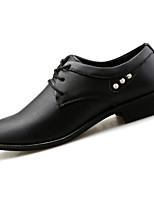 Men's Oxfords Spring Fall Comfort Leather Casual Flat Heel Lace-up Black Blue Walking