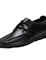 Men's Oxfords Spring Fall Comfort Cowhide Casual Flat Heel Others Lace-up Black Brown