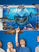 3D Underwater World Shark Seal 3D Wall Stickers Fashion Creative Living Room Bedroom Wall Decals