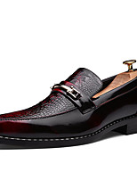 Men's Loafers & Slip-Ons Spring Fall Comfort PU Casual Flat Heel Black Brown Red Other
