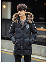 Men's Long Padded Coat,Simple Casual/Daily Solid-Nylon Cotton Long Sleeve Black