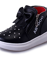 Girl's Boots Fall Winter Comfort PU Casual Flat Heel Black Pink Red Walking
