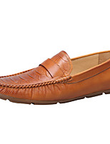 Men's Loafers & Slip-Ons Moccasin Genuine Leather Emboss Crocodile Outdoor / Office & Career / Casual Flat Heel