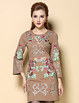Women's Casual/Daily Chinoiserie Tunic Dress,Embroidered Round Neck Above Knee Long Sleeve Brown Cotton / Polyester Fall Mid Rise