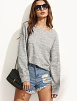 Women's Casual/Daily / Sports Sexy / Simple Regular Backless Cut Out HoodiesSolid Gray Round Neck Long Sleeve  Medium
