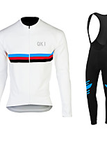 QKI White Cycling Jersey with Bib long Tights Long Sleeve Bike Breathable / Quick Dry / Anatomic Design / Front Zipper / 3D coolmax gel pad