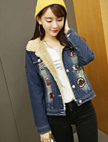 Women's Going out / Casual/Daily Simple / Street chic Denim Jackets,Solid Notch Lapel Long Sleeve Fall / Winter Blue Wool Medium