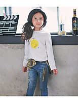 Girl's Casual/Daily Solid TeePolyester Fall White