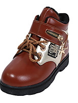 Boy's Boots Fall / Winter Comfort Cowhide Casual Flat Heel Magic Tape Black / Red / Orange Walking
