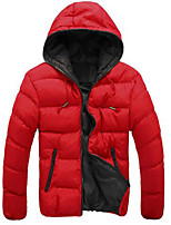 Men's Regular Padded Coat,Simple Casual/Daily Solid-Cotton Polyester Long Sleeve Red / Black