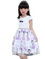 Girl's Going out Print Dress,Polyester Summer Blue / Pink / Purple