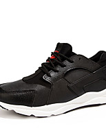 Men's Sneakers Spring Fall Comfort Leather Casual Flat Heel Lace-up Black Red Gray Hiking