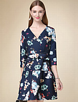 DOF Women's Casual/Daily Simple Sheath DressFloral V Neck Above Knee  Length Sleeve Blue Cotton Fall High Rise