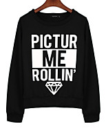 Women's Casual/Daily Simple Regular Hoodies,Letter Black / Gray Round Neck Long Sleeve Cotton Fall / Winter Medium Stretchy