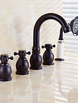 Antique Roman Tub Waterfall/ Handshower Included with Ceramic Valve Two Handles Five Holes for Oil-rubbed Bronze