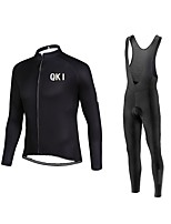 QKI Cycling Jersey with Bib long Tights Long Sleeve Bike Breathable / Quick Dry / Anatomic Design / Front Zipper / 3D coolmax gel pad