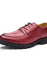 Черный Коричневый Красный-Мужской-Повседневный-Кожа-На плоской подошве-Удобная обувь-Туфли на шнуровке