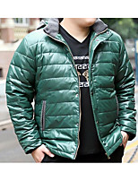 Men's Regular Down Coat,Simple Casual/Daily Solid-Polyester White Duck Down Long Sleeve Shirt Collar Black / Green
