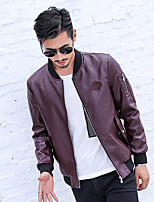Men's Casual/Daily Vintage Leather JacketsSolid Stand Long Sleeve Fall / Winter Blue / Black / Brown PU Medium