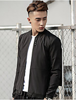 Men's Casual/Daily Simple Jackets,Solid Stand Long Sleeve Fall Black Polyester Thin