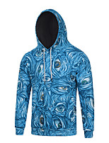 Men's Print Casual / Sport Hoodie,Cotton / Polyester Long Sleeve Blue