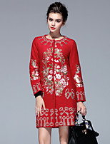 PROVERB  Women's Plus Size / Casual/Daily Chinoiserie CoatEmbroidered Long Sleeve Fall / Winter Red Others