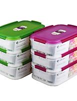 kithenware герметичных 3 слоя стека продуктов питания ланч-боксов с делителем (1.15l1.15l) * 3р
