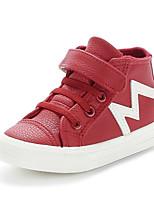 Boy's Boots Winter Comfort Leatherette Outdoor / Casual Flat Heel Hook & Loop Black / Red / White Walking / Sneaker