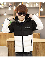 Men's Regular Padded Coat,Simple Casual/Daily Color Block-Cotton Cotton Long Sleeve Black