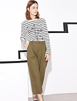I'HAPPY Women's Solid Green / Orange Chinos PantsSimple Spring / Summer